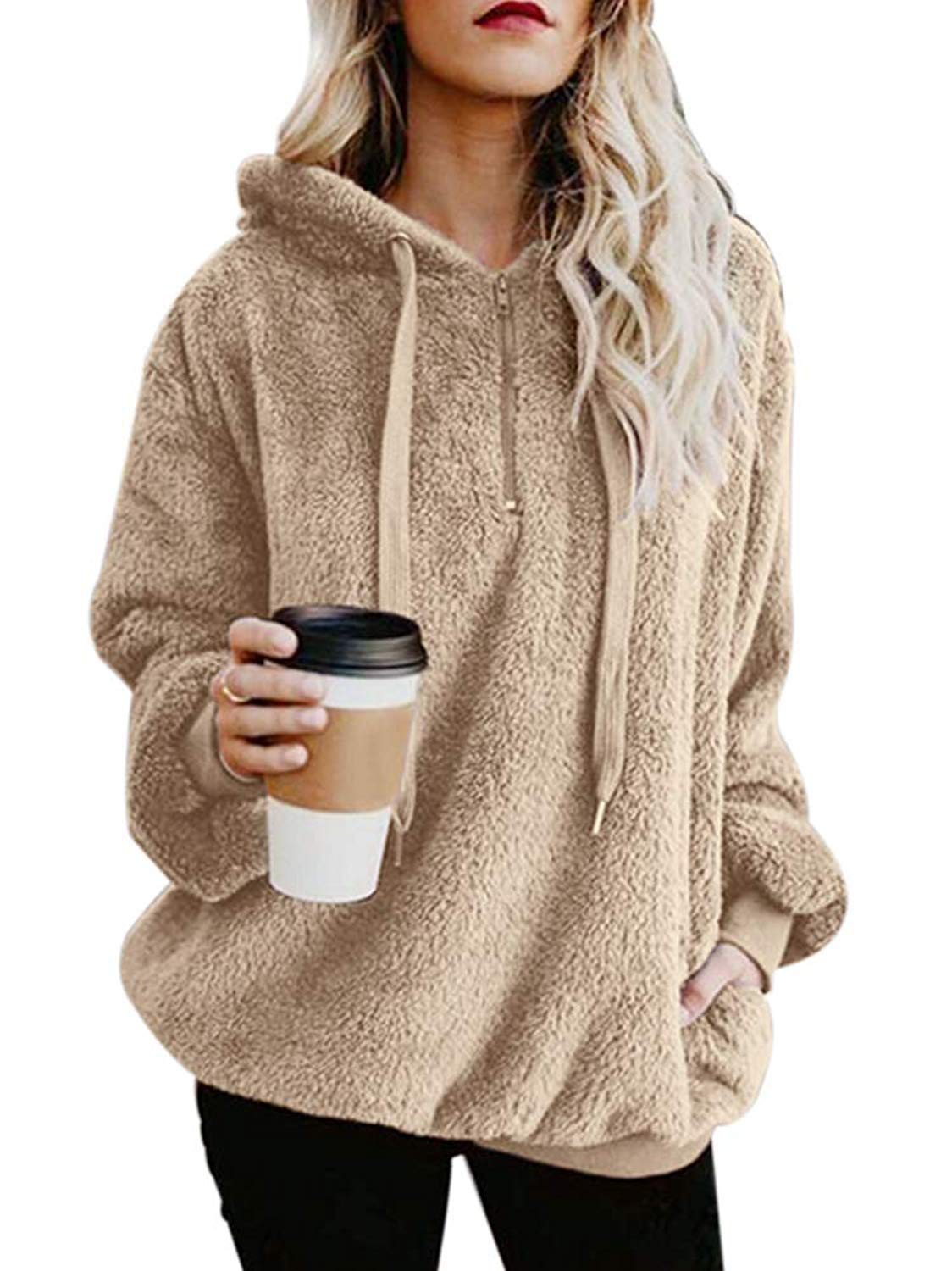 ReachMe Women's Oversized Sherpa Pullover Hoodie with Pockets 1/4 Zip Sweatshirt(Khaki,X-Large) by ReachMe