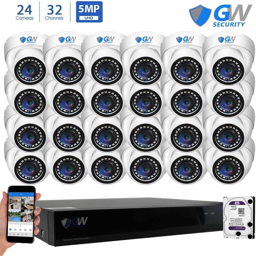 GW Security 32 Channel NVR 5 Megapixel H.265 Security Camera System, 24 Built-in Microphone Audio Recording HD 1920P IP PoE Dome Cameras, QR-Code Connection