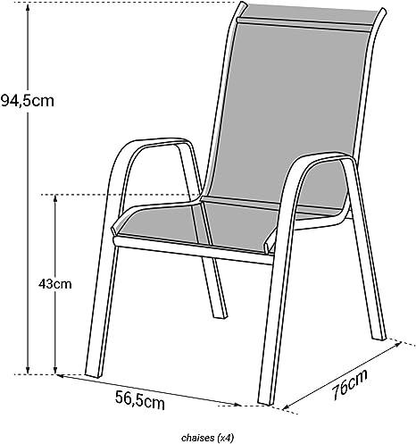 Garden Blanc chaises Aluminium en Happy de 4 Rose Lot Marbella textilène D2e9IWEHY