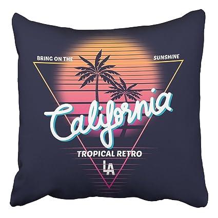 Amazon.com: Emvency Throw Pillow Covers Vintage Retro California ...