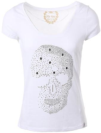 eb12fb4c8b1043 Key Largo Damen Skull T-Shirt Brain Round Totenkopf Pailletten Motiv  WT00087