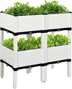 Raised Garden Bed Set of 4,Plastic Elevated Garden Planter Outdoor Planters with Legs, Vegetables Flowers Outdoor Indoor Planting Box Container for Garden Patio Balcony (White)