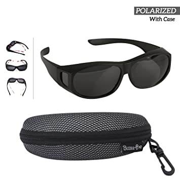 90fbc96ef8e Polarized Wear Over Sunglasses - Cover For Regular Eye Glasses and  Prescription Glasses To Reduce Glare