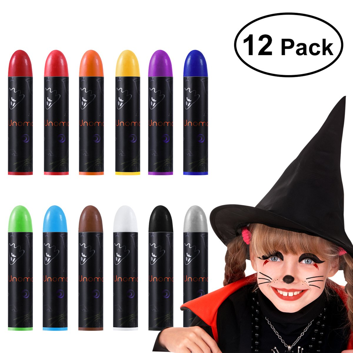 Halloween Face Makeup Kit  Halloween Face Paint Body Crayons for Kids Party Costume 12 Colors