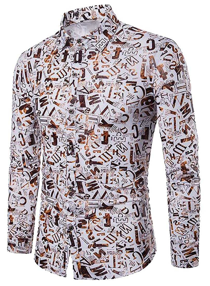 Fubotevic Mens Casual Long Sleeve Letter Print Loose Fit Gilding Dress Shirts