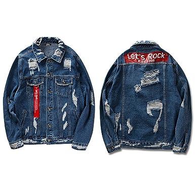 Feissan Black Ribbon Hollow Denim Jacket Men Retro Distressed Destroy Hip Hop Jeans Jacket
