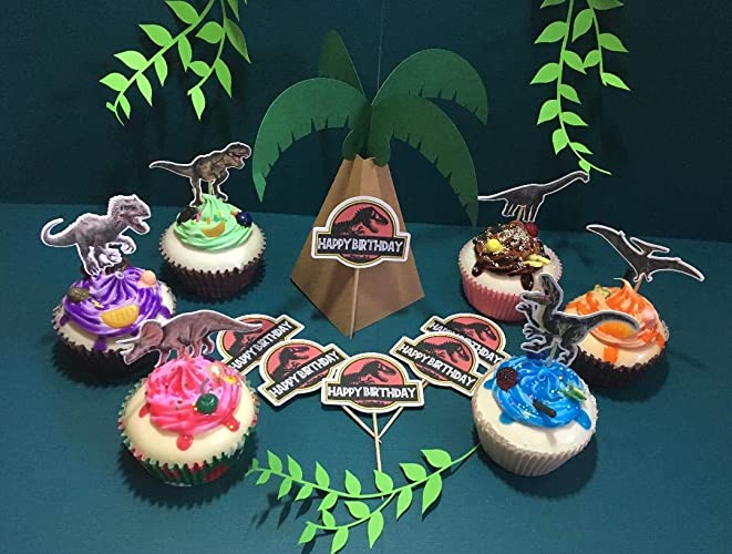 Jurassic World Inspired Cupcake Toppers Park Dinosaur Birthday Party Supplies