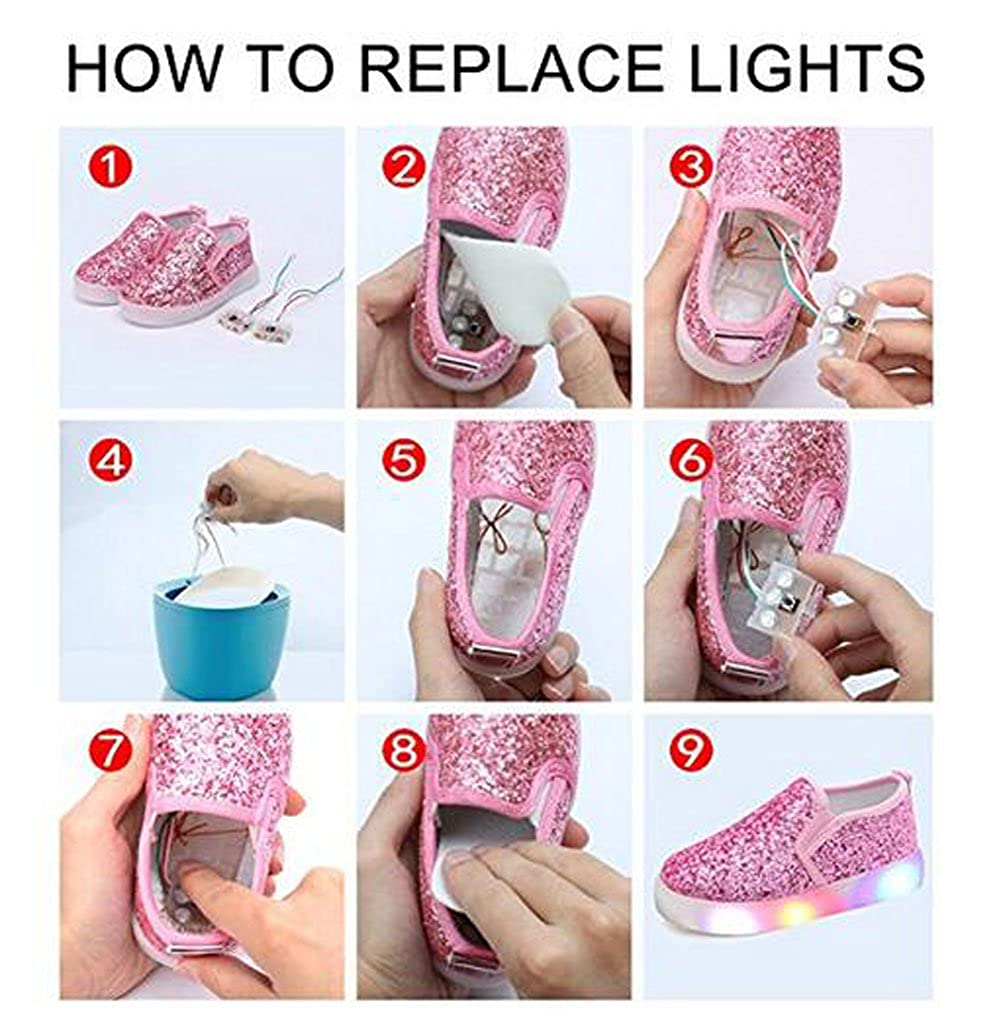 Otamise Girls Light up Sequins Shoes Slip-on Flashing LED Casual Loafers Flat Sneakers Toddler//Little Kid 11M US Little Kid, Sequins Pink