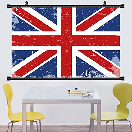 Gzhihine Wall Scroll British Abstract England London Flag Old Vintage Like Print With Shadow