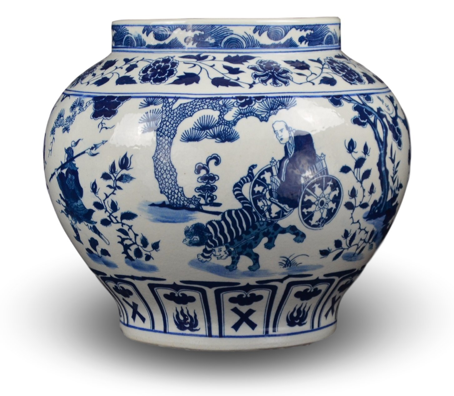 Classic Blue and White Yuan Porcelain Vase, Gui Guzi Descends the Mountain, China Yuan Style, 11'', Free Wood Base