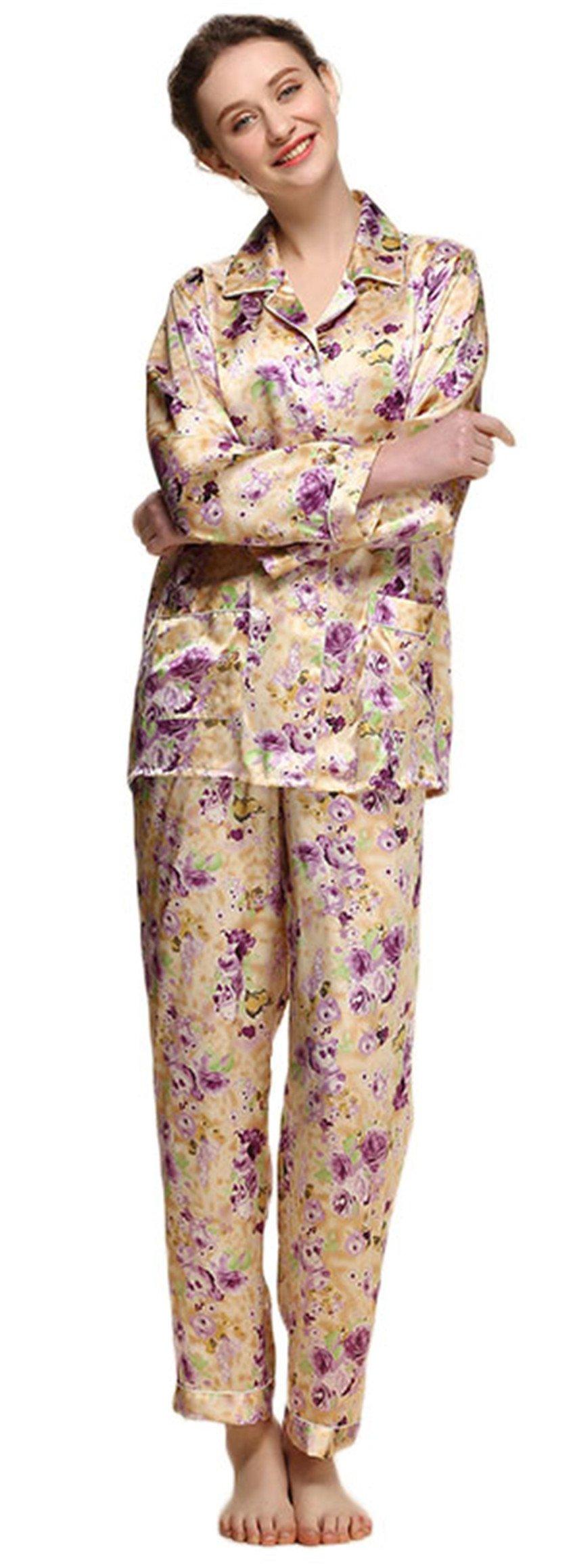 Women's Pure Mulberry Silk Pajama Set Long Sleeve Printed Floral Classic Luxury Sleepwear XL