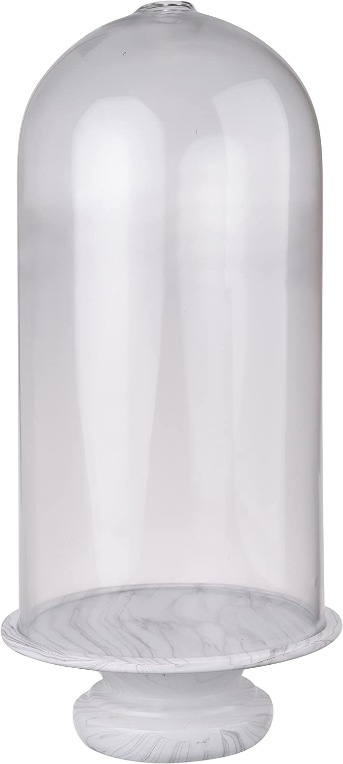 A&B Home Kathy Ireland Decoration Only, 9 by 20-Inch Rustic Couture Glass Dome Marble, White Base- Clear Top
