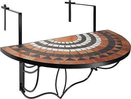 Anself Mosaico Tavolino Pieghevole da Balcone dattaccatura Semicircolare Blu Bianca