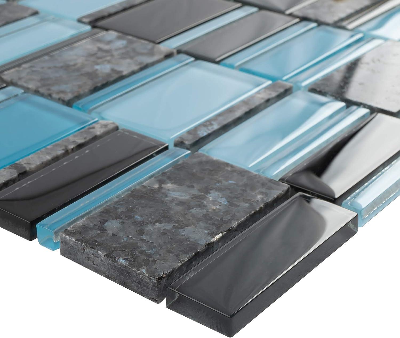 floor and decor grout.htm amazon com tistg 08 blue   black random rectangle glass mix stone  rectangle glass mix stone