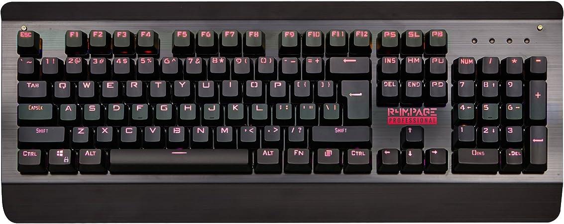 R4MPAGE RP de 10000 mecánica USB Profesional Gaming Teclado 105 Teclas con 7 Colores RGB retroiluminación LED, Negro