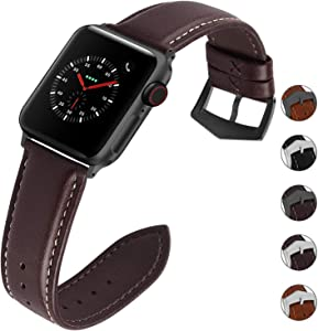 Compatible for Apple Watch Band 42mm 38mm 40mm 44mm for iWatch Series SE/6/5/4/3/2/1, Fullmosa 3 Colors Labu Leather Apple Watch Band/Strap, 42mm Coffee+Smoky Grey Hardware