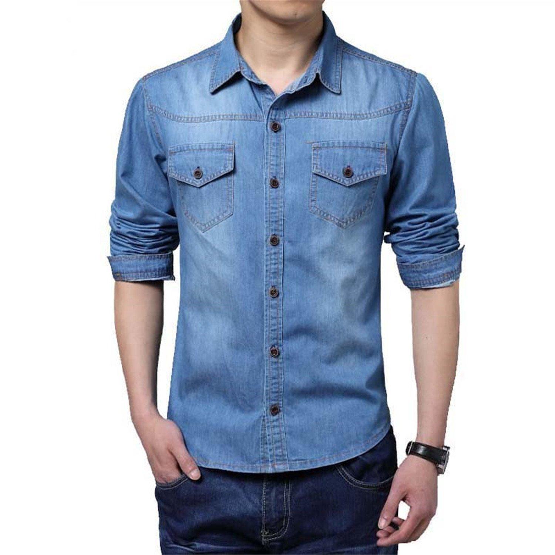 Jimmetfrend Large Size Denim Men Shirt M~5XL Cotton Social Long Sleeve Blue Dress Shirt at Amazon Mens Clothing store: