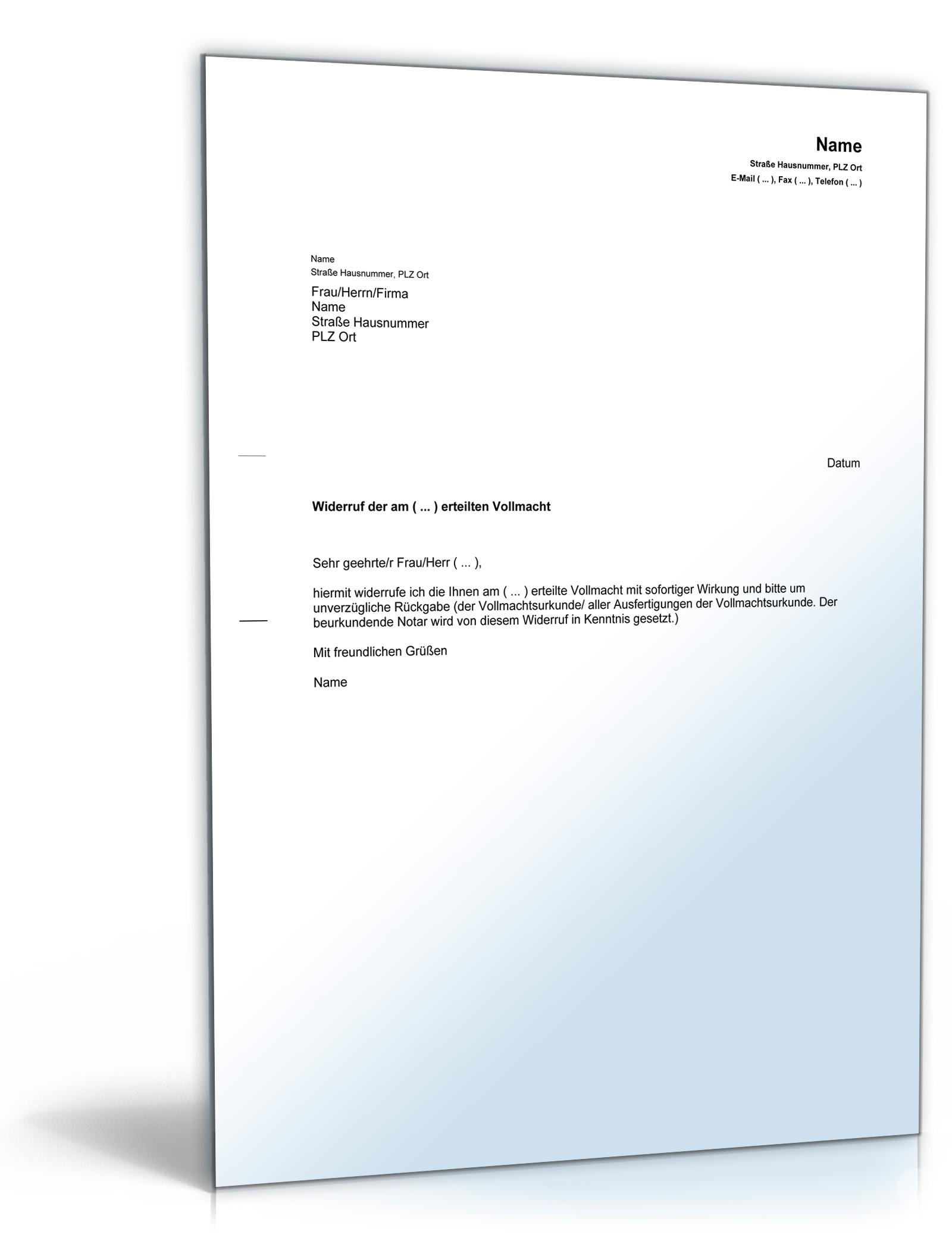 widerruf vollmacht pdf download amazonde software - Bankvollmacht Muster
