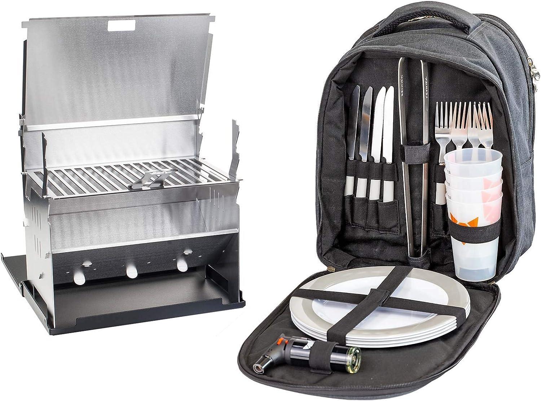 Juego para barbacoa Fennek Backpack Grill con mochila de picnic, camping, senderismo, para exteriores, con compartimento térmico y accesorios para 4 ...