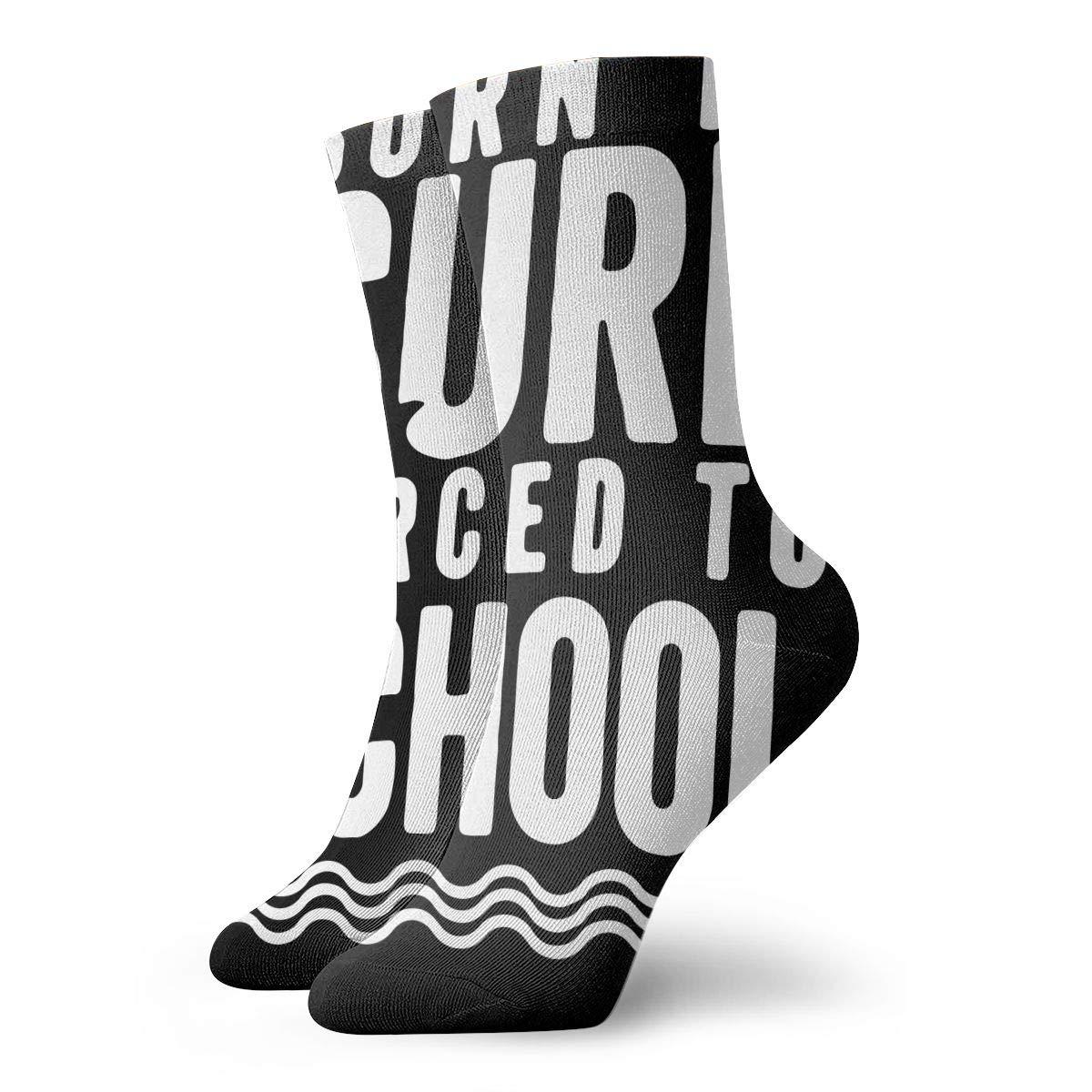 YIEOFH Born to Surf Forced to School Novelty Boys Girls Fashion Cute Funny Casual Art Crew Socks