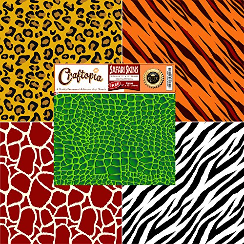Safari Patterned Vinyl Sheets Animal Prints 4+1 Pack | Leopard Cheetah/Tiger Giraffe Zebra Tiger Gator Printed Pattern Sheet for Cricut Silhouette Cameo Craft Cutter | Similar to Oracal 651 for Decals