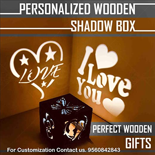 Shaivya Customised Wooden 5 X 5 X 5 inches LED Fitted Shadow Box Having All Personalised Options