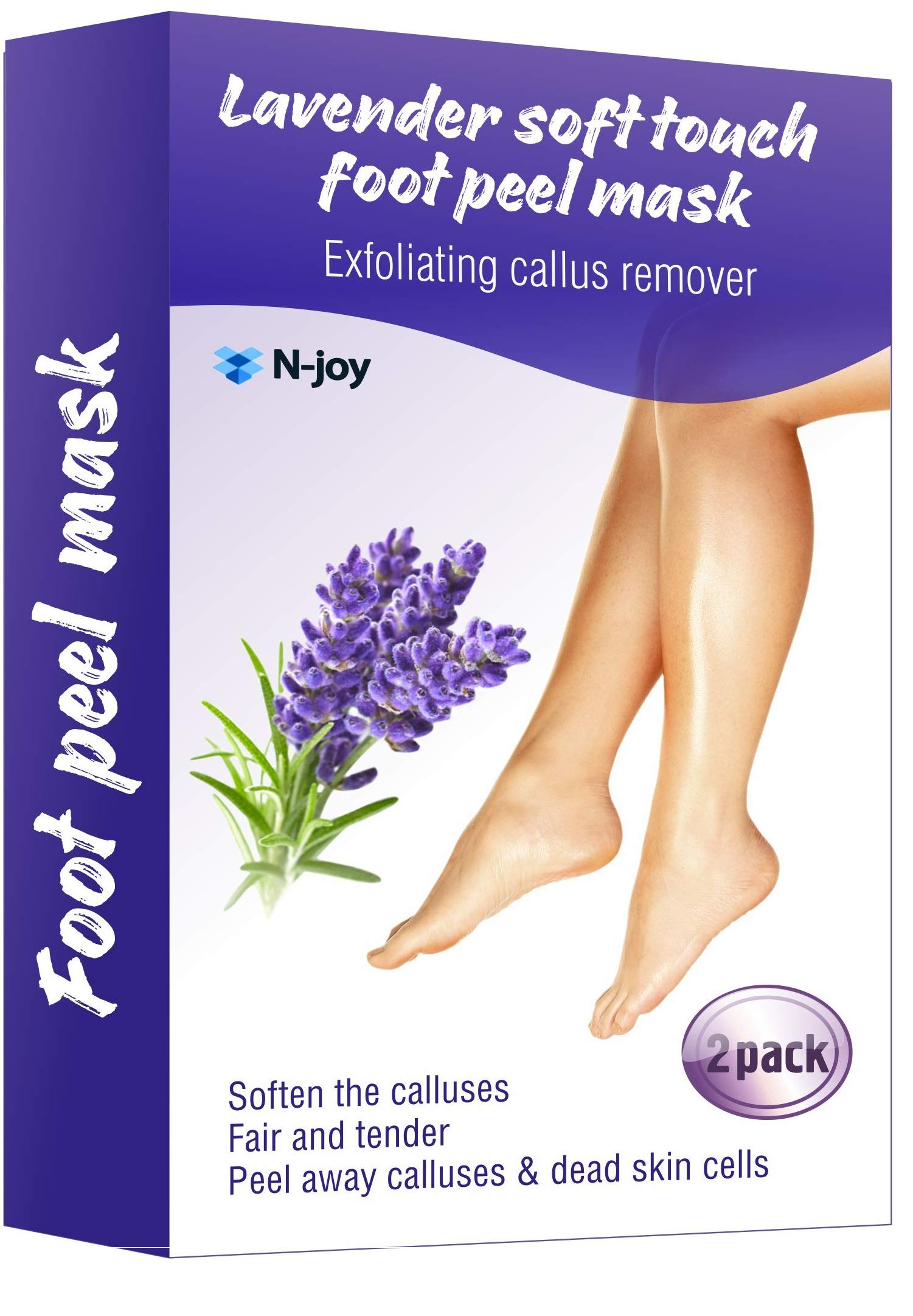 Foot Peel Mask (2 Pairs) - Exfoliating Sock Foot Mask - Calluses and Dead Skin Remover - Get Baby Smooth feet in 5-7 Days - Foot Care that you Deserve by N-Joy for you