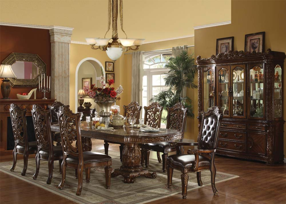 Amazon.com: Vendome 9 Piece Cherry Finish Dining Set With Hutch/buffet:  Kitchen U0026 Dining