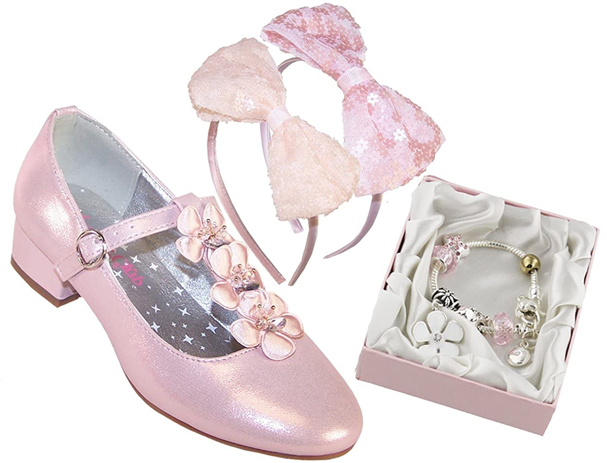 50754be2061e Girls Childrens Pink Sparkly Heeled Party Shoes with gem and Jewel Trims