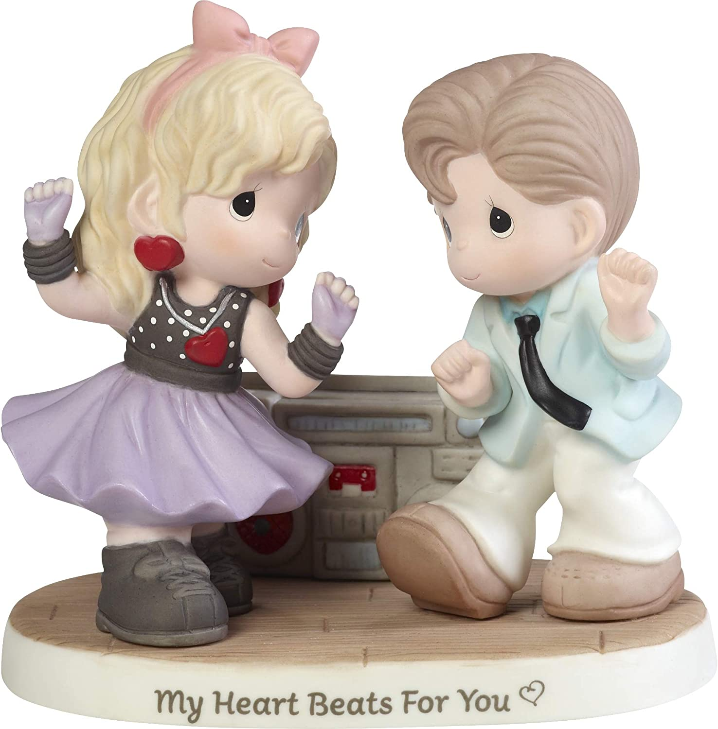 Precious Moments カップル Listening to Music 192011 My Heart Beats for Youビスク磁器フィギュア マルチ