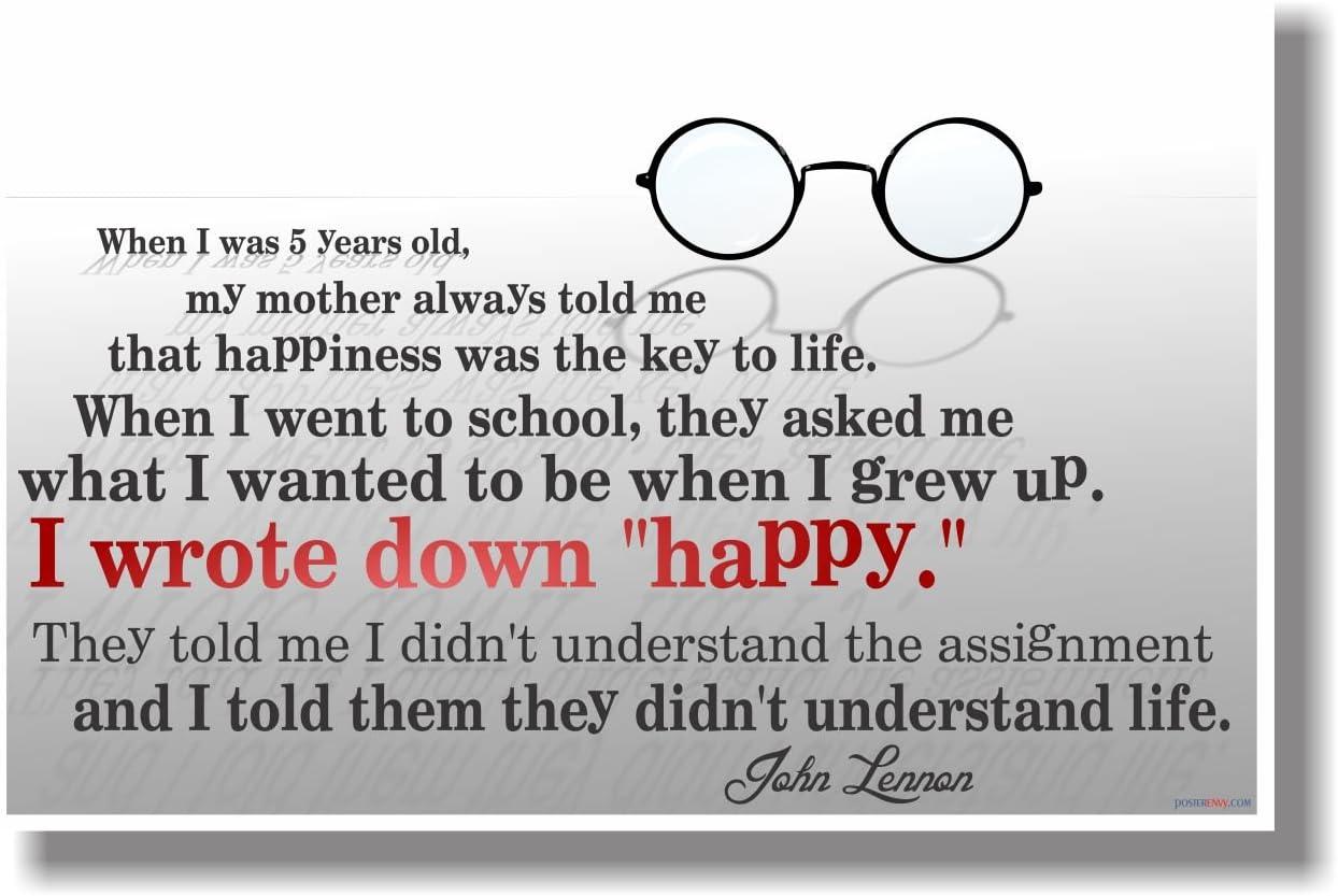 """I Wrote Down """"Happy"""" - John Lennon - NEW Classroom Motivational Poster"""