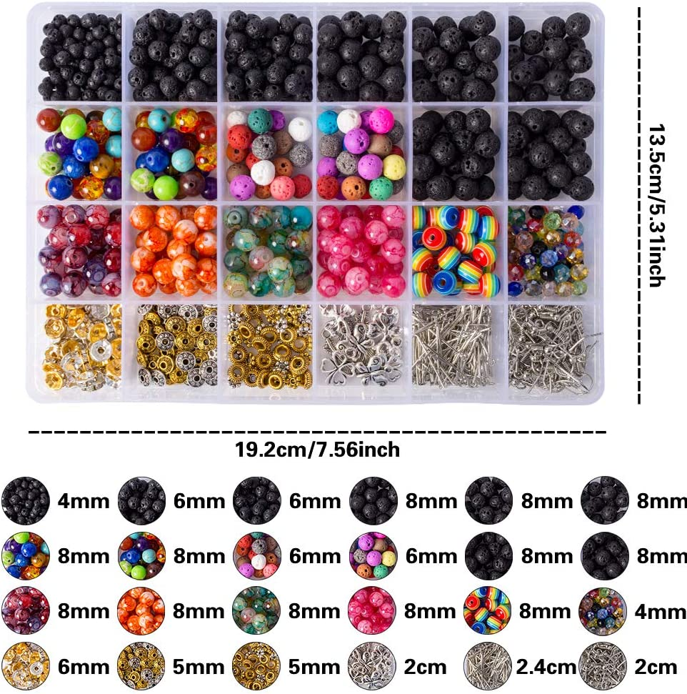 946 Pcs Lava Beads Stone Rock Beads Rainbow Striped Beads Chakra Beads Kit with Spacers Beads,Pendant,Ear hook,2 Rolls Elastic String/&Needles for Essential Oils Bracelet Necklace Jewelry Making 4//6//8mm