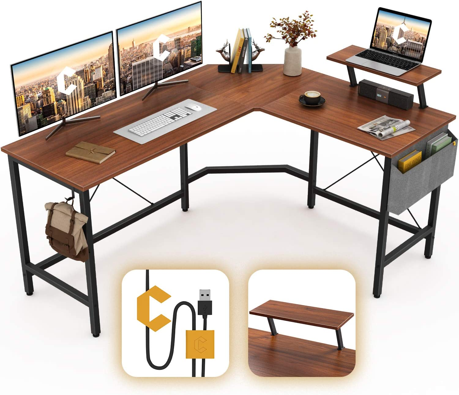 Cubiker Modern L-Shaped Computer Office Desk, Corner Gaming Desk with Monitor Stand, Home Study Writing Table Workstation for Small Spaces, Espresso