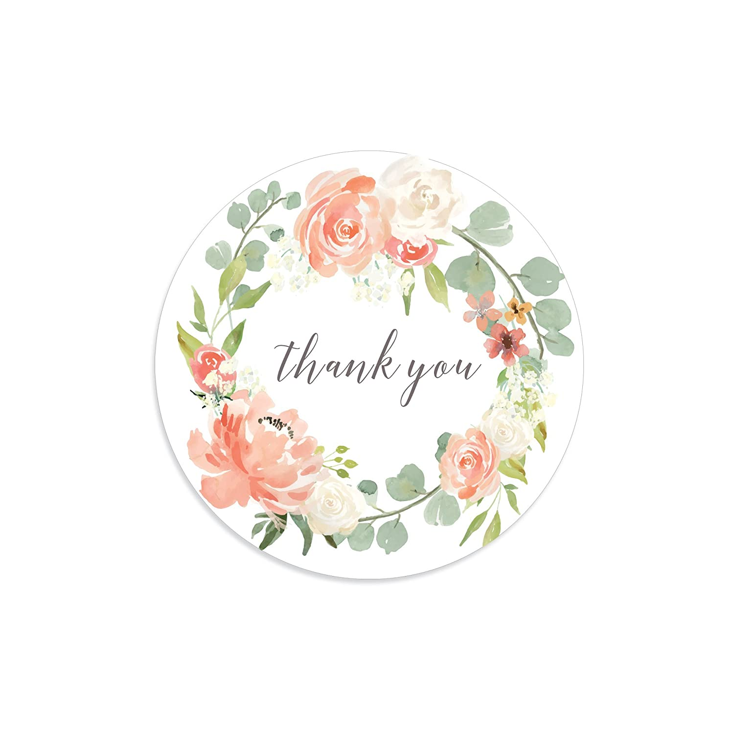 Amazon com thank you stickers rose stickers floral wreath floral thank you stickers floral thank you tags flower thank you tags rose wreath handmade