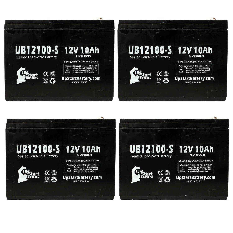 4x Pack - Neuton Mowers CE5 Battery - Replacement UB12100-S Universal Sealed Lead Acid Battery (12V, 10Ah, 10000mAh, F2 Terminal, AGM, SLA)