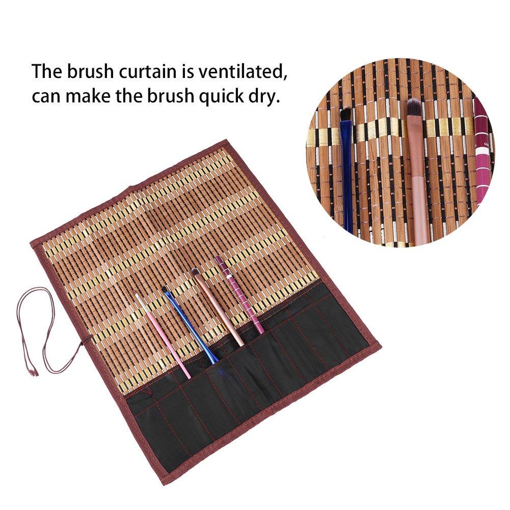 Walfront 15,7  /× 14,2  Roll Up Bambus Pinsel Stift Tasche F/ällen Halter f/ür K/ünstler Zeichnen Stift Kalligraphie Pinsel Stift Veranstalter