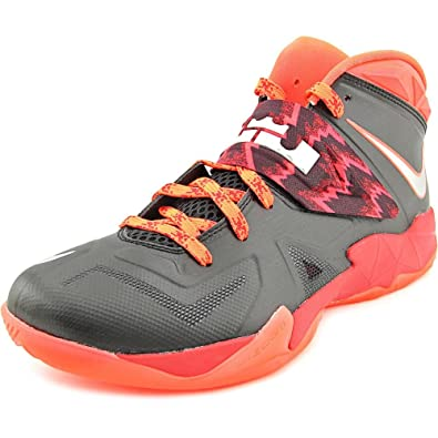 87d8b5c6db5f Nike Men s Lebron Zoom Soldier VII PP Basketball Shoes Black Metallic  Silver Gym Red