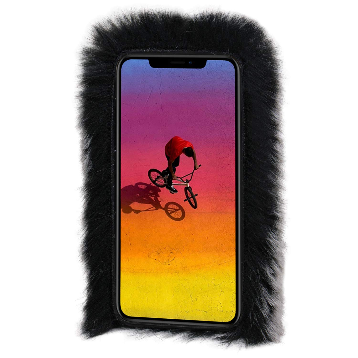 iPhone X//iPhone Xs 5.8 inch Aearl iPhone X Case,iPhone Xs Case,iPhone X Rabbit Fur Ball Case,Luxury Cute 3D Diamond Winter Warm Soft Furry Fluffy Fuzzy Bunny Ear Plush Cover for Girls Women-Gray