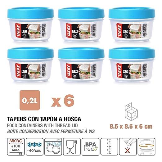 Tatay 1160700 Lote de 6 tapers de plástico de alta calidad de 0.2 L. con tapa de rosca, color azul turquesa