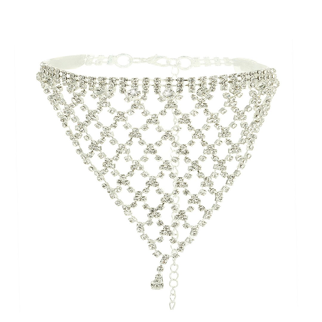 Naimo Womens Sparkly Tassel Rhinestone Crystal Choker Necklace Sexy Chain Choker Necklace (Silver) by Naimo (Image #1)