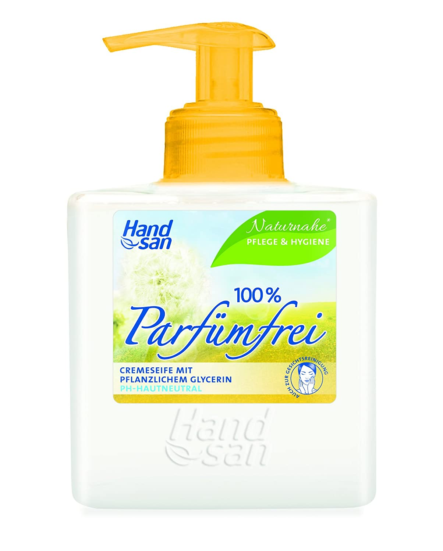 Handsan Cremeseife 100% PARFÜMFREI im Spender 300 ml / Cremseife seifen- und parfümfrei Spender im 3er Vorratspack (3 x 300 ml) 498426