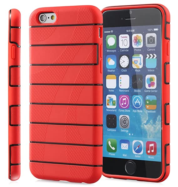 Amazon.com: iPhone 6s Case, Fosmon DURA-RAIL Slim Fit Durable Cover Case for Apple iPhone 6 (2014) / iPhone 6s (2015) - Red/Black: Cell Phones & Accessories