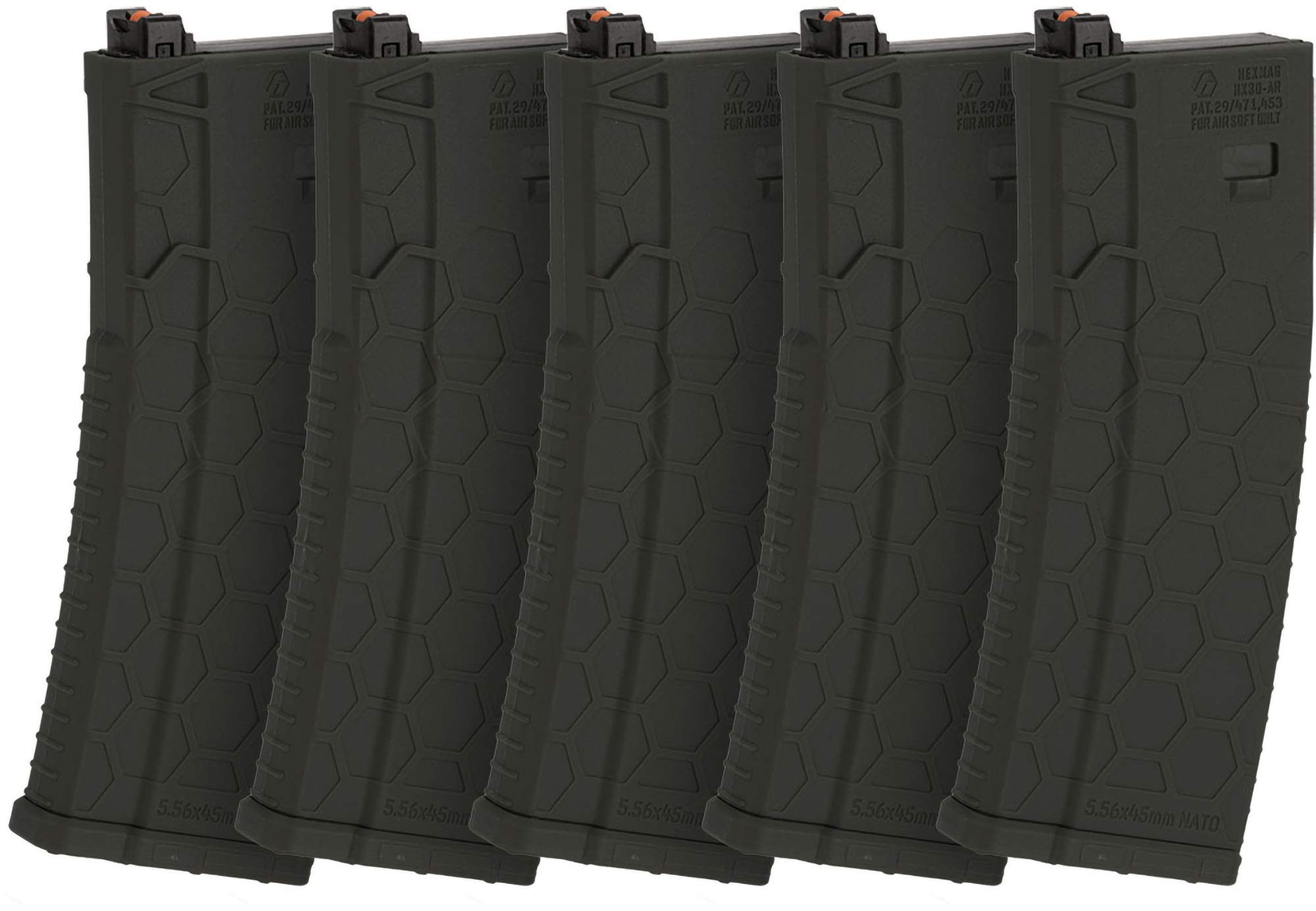 Evike Hexmag Airsoft 120rds Polymer Mid-Cap Magazine for M4 / M16 Series Airsoft PTW Rifles - Box of 5 (Color: OIlive Drab) by Evike