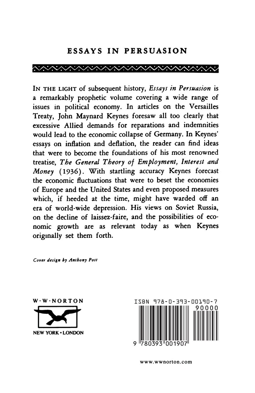 essays in persuasion john nard keynes amazon essays in persuasion john nard keynes 9780393001907 com books
