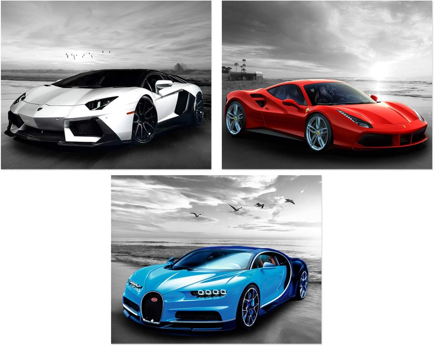 Car Posters - Ferrari, Mclaren, Lamborghini Sports Car Wall Art - Exotic Supercar Decor Set of 3 Unframed (10x8 inches) Supercars Pictures - Geryscale Beach Theme - Set 2