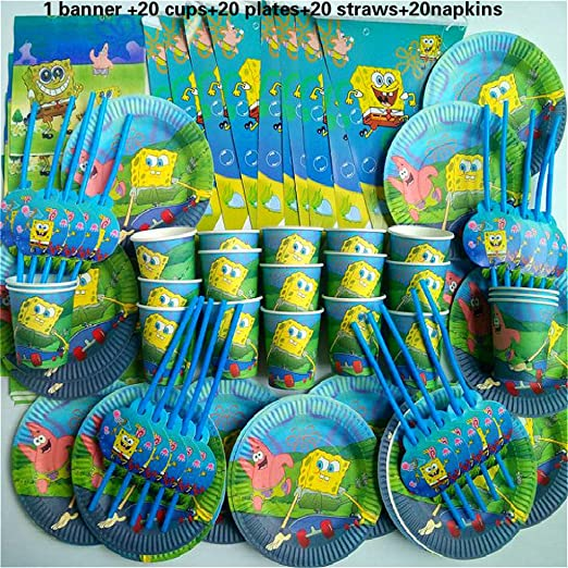 QAnter 81 Tazas de Bob Esponja+Bandeja+Pajita+servilleta Pancarta cumpleaños Feliz niño Ducha Fiesta decoración Kit temático