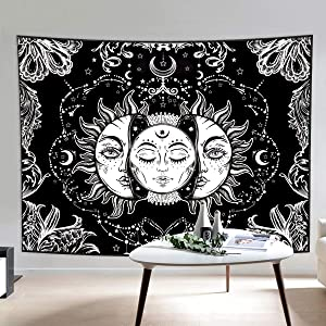 HIPPIH Tapestry Wall Hanging Mystic Black and White Tapestries with Sun & Moon, Burning Sun with Star Psychedelic Astrology Tapestry for Living Room Bedroom Home Decor Medium Extra Large Size