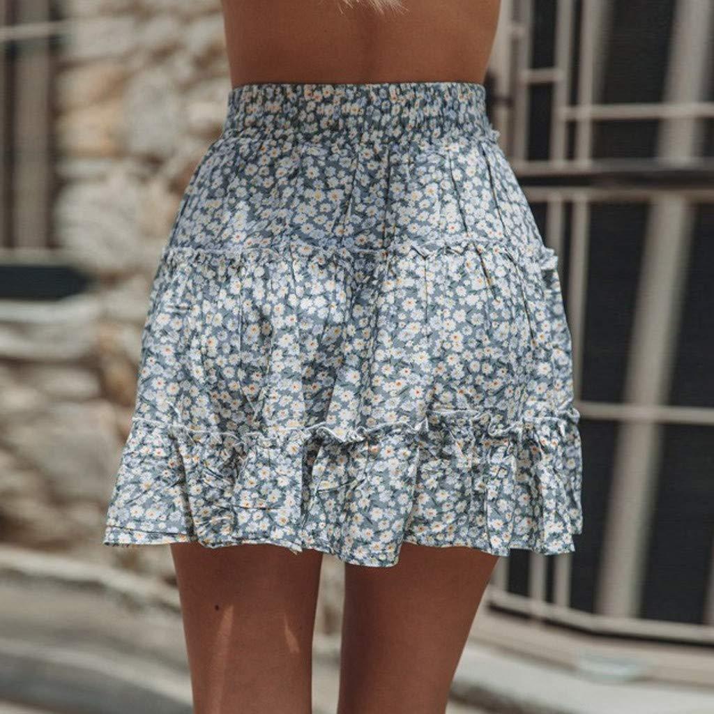 Womens High Waist A Line Mini Skirt Floral Women Print Basic Flared Mini Skater Skirt Boho Beach Short Skirts Size S-2XL