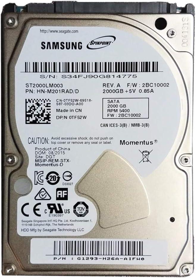 TF52W ST2000LM003 2.5 SATA 2000GB 5400 Laptop Hard Drive Latitude E6430