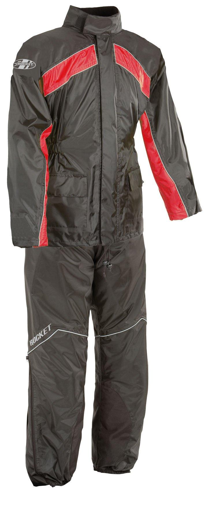 Joe Rocket RS-2 Men's Motorcycle Rain Suit (Black/Red, Medium)